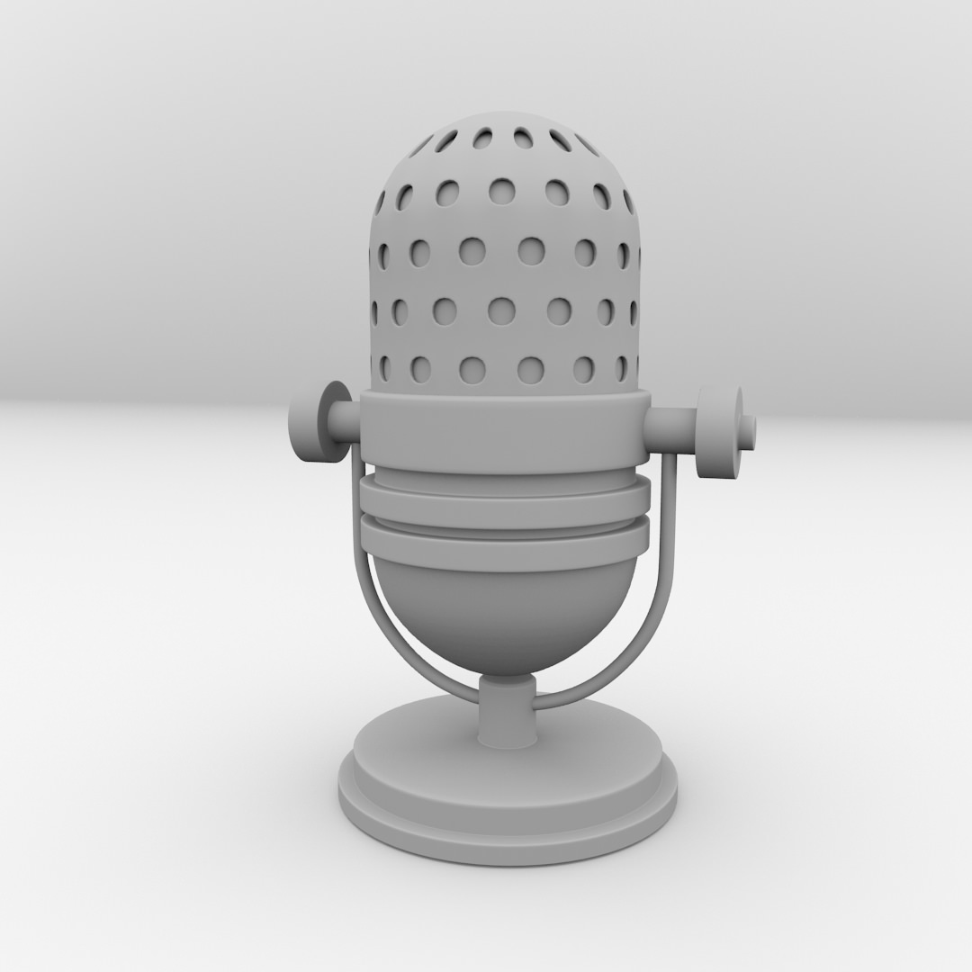 Retro Microphone 3D Model 3DS FBX BLEND DAE