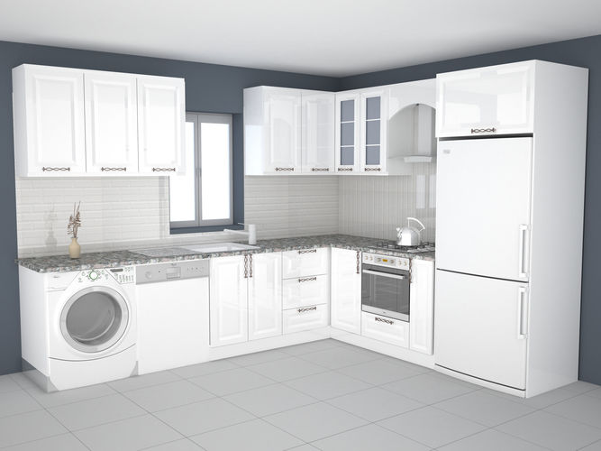 3D printable model kitchen design  CGTrader
