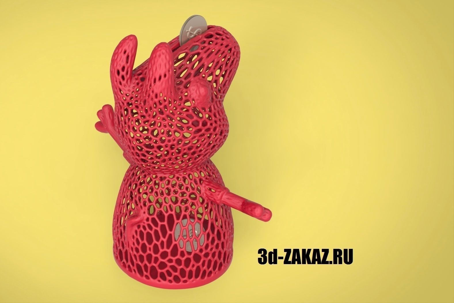 3d Printable Model Peppa Piggy Bank Voronoi