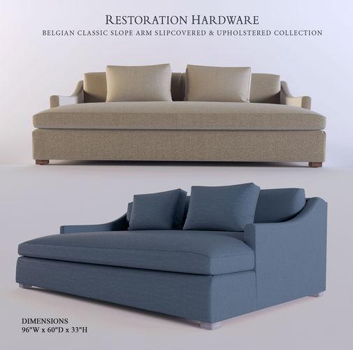 belgian classic slope arm slipcovered sofa saver boards uk rh 3d cgtrader model