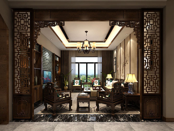 chinese living room cafe bar gallery batu ferringhi china 3d model design cgtrader max 5