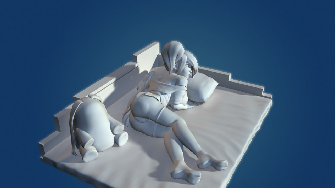 Girl Anime 1 3D Model 3D printable stl  CGTradercom