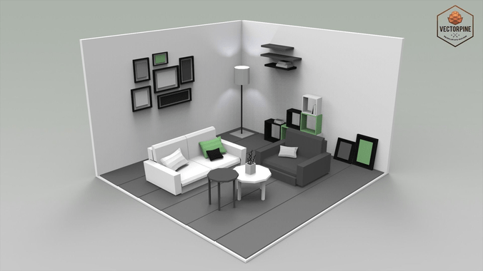 3 piece living room table set idea for painting low poly interiors - 3d asset game-ready