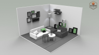 Low Poly Interiors - Living Room 3D asset game-ready