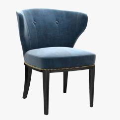 Blue Wing Back Chair Cover Hire Dartford Custom Made In Velvet 3d Model Max Obj Mtl 3ds Fbx
