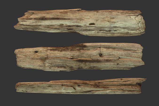 3D Model Broken Wood Plank CGTrader