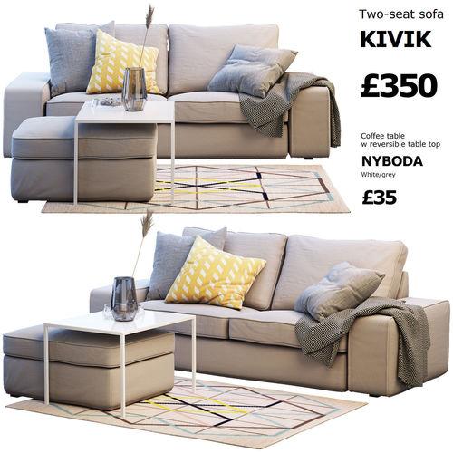 Twoseat sofa IKEA KIVIK 2 3D  CGTrader
