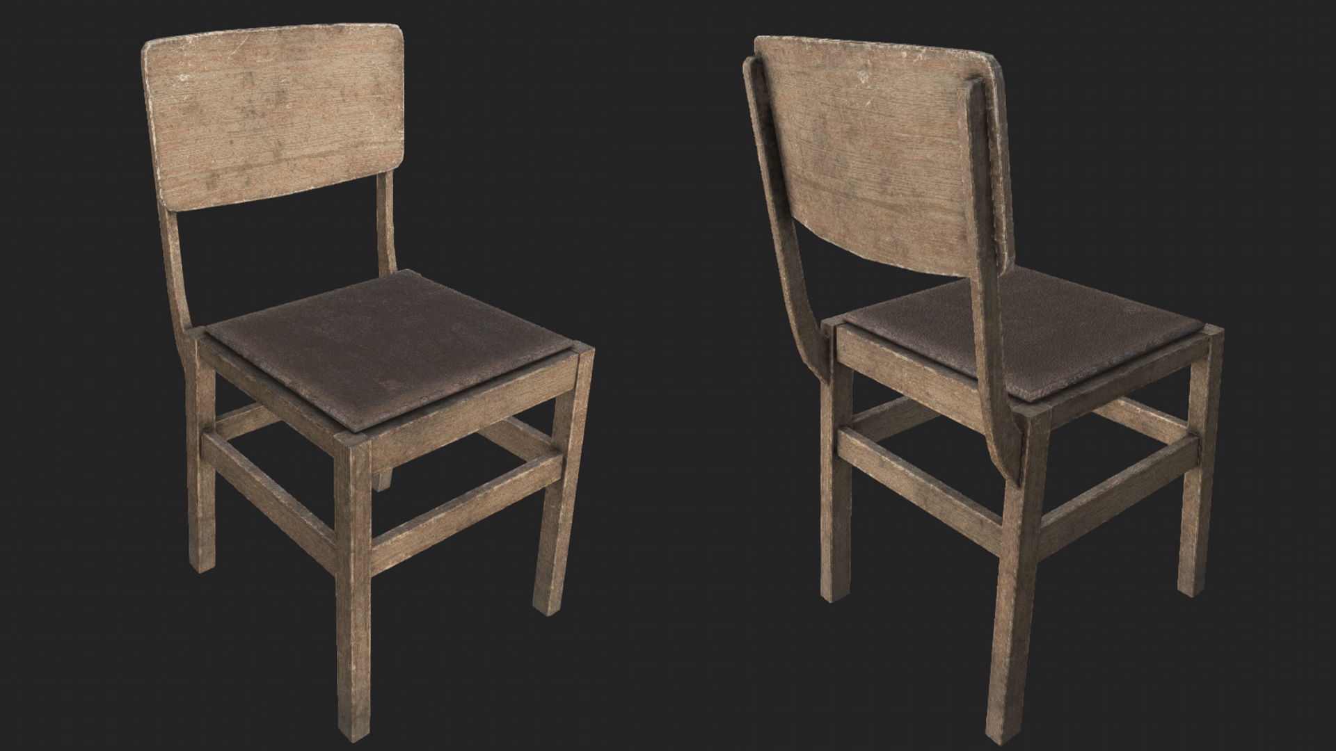 old wood chairs best big and tall beach chair 3d asset wooden 2 pbr cgtrader model low poly max obj mtl 3ds fbx dae