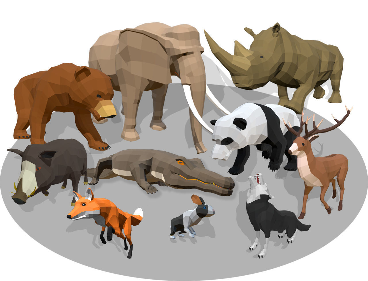low poly animals africa
