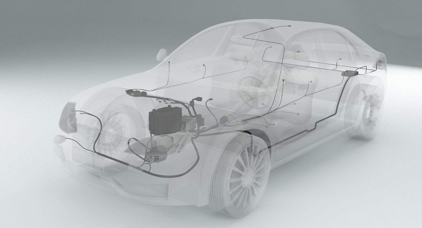 hight resolution of wiring inside a car 3d model
