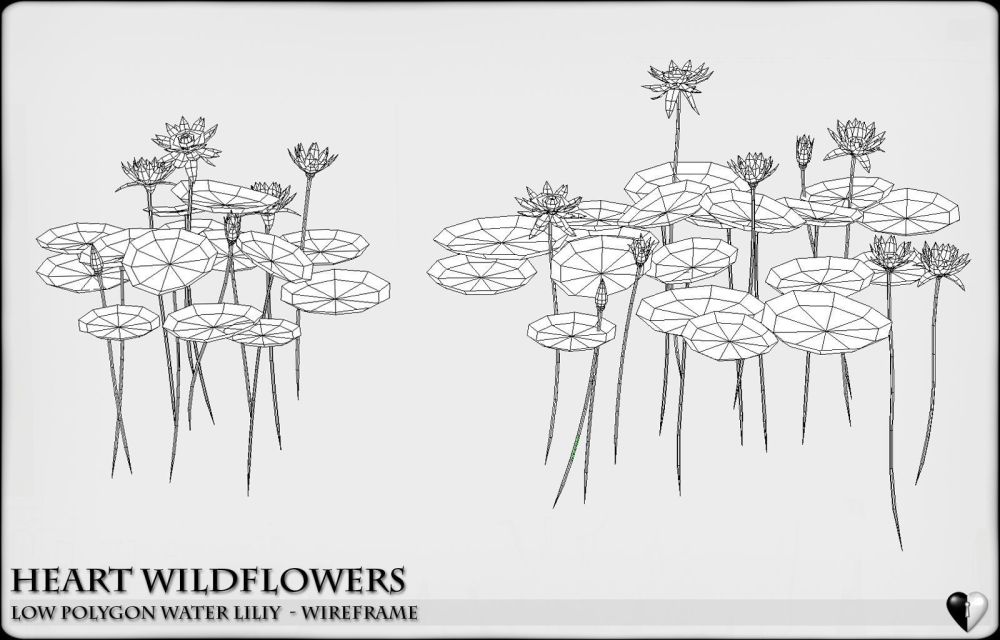 medium resolution of low polygon 3d water lilies for games and visualisation low poly 3d model