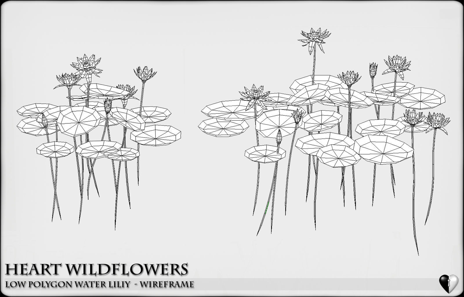 hight resolution of low polygon 3d water lilies for games and visualisation low poly 3d model
