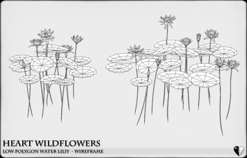 small resolution of low polygon 3d water lilies for games and visualisation low poly 3d model