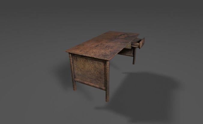 Old Wooden Desk 3D model  CGTrader