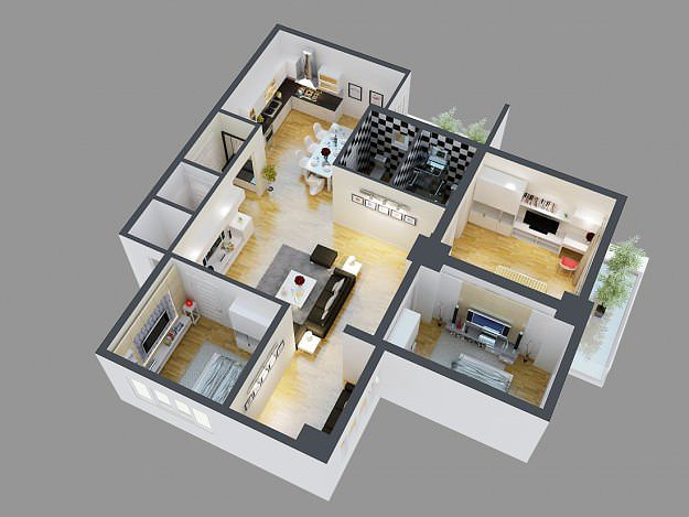 3D Model Detailed House Cutaway View 4  CGTrader