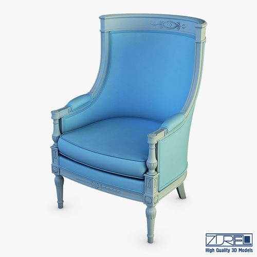french bergere chair blue leather swivel 19th century armchair 3d model max obj mtl fbx