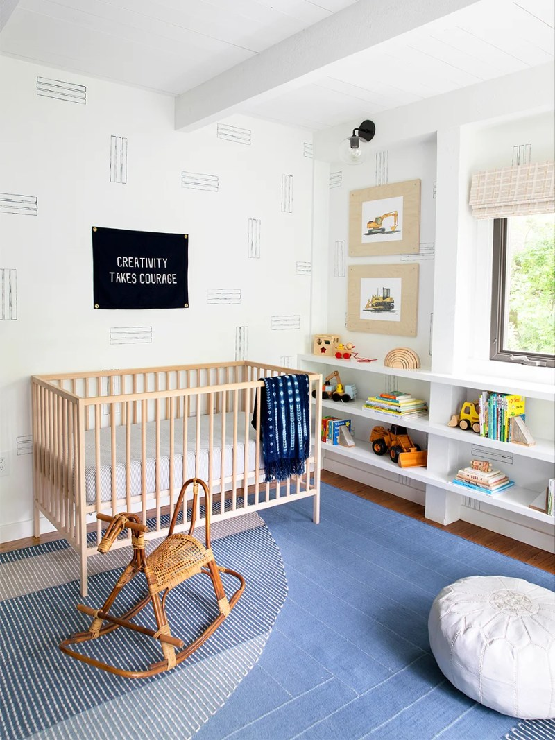 Nursery with paint tape DIYed walls