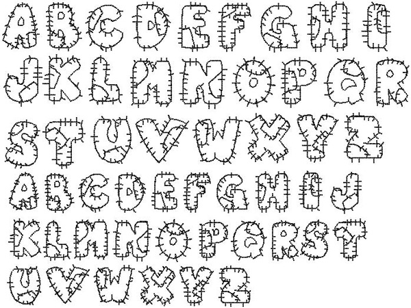 Bella Mia Designs Styles Embroidery Fonts: Patchwork