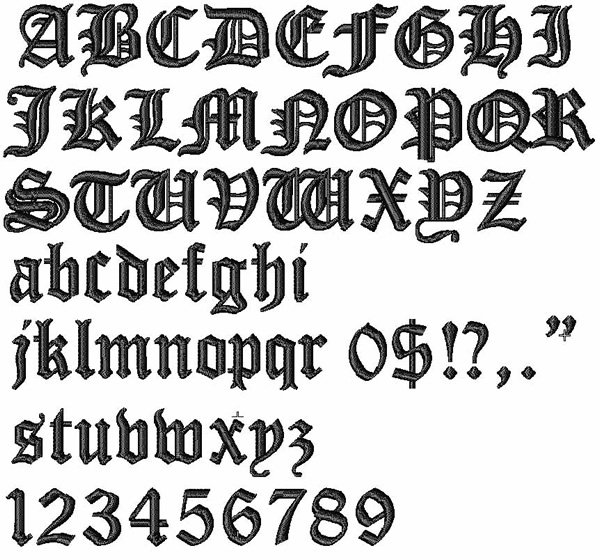 Bella Mia Designs Styles Embroidery Fonts: Cloister Black