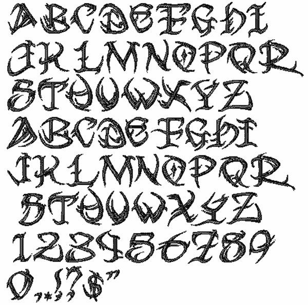 Bella Mia Designs Styles Embroidery Fonts: Tribal Font 1