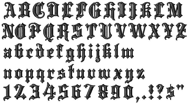 Bella Mia Designs Styles Embroidery Fonts: Blackletter 0
