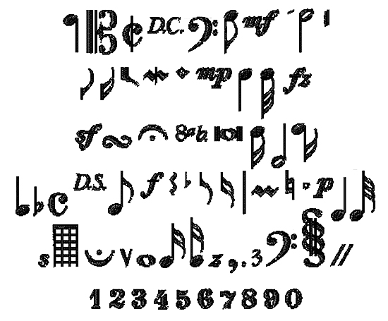 Bella Mia Designs Ornate Embroidery Fonts: Music Symbols 0