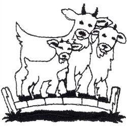 Billy Goats Gruff Outline Embroidery Designs, Machine
