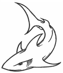 Satin Stitch Embroidery Design: Shark Outline 3.00 inches