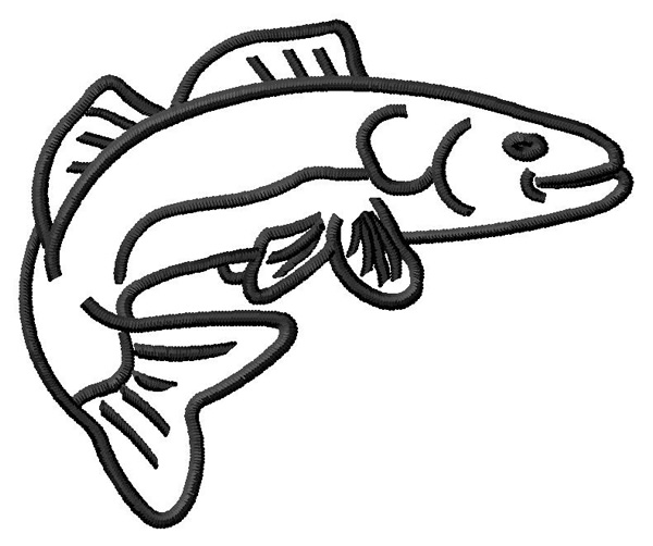 Grand Slam Designs Embroidery Design: Walleye Outline 2.39