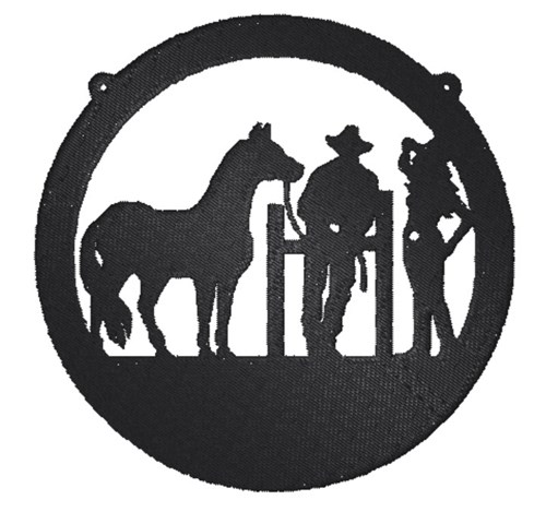 western scene silhouette embroidery