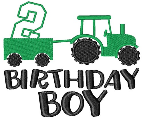 2nd birthday tractor embroidery