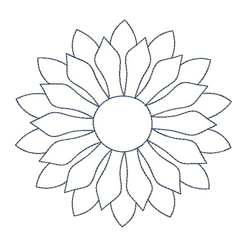 Sunflower Quilt Outline Embroidery Designs, Machine