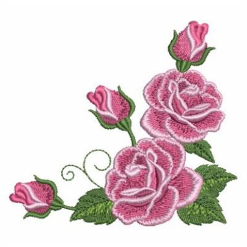 romantic roses corner embroidery