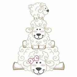 Vintage Cute Lamb Embroidery Designs, Machine Embroidery