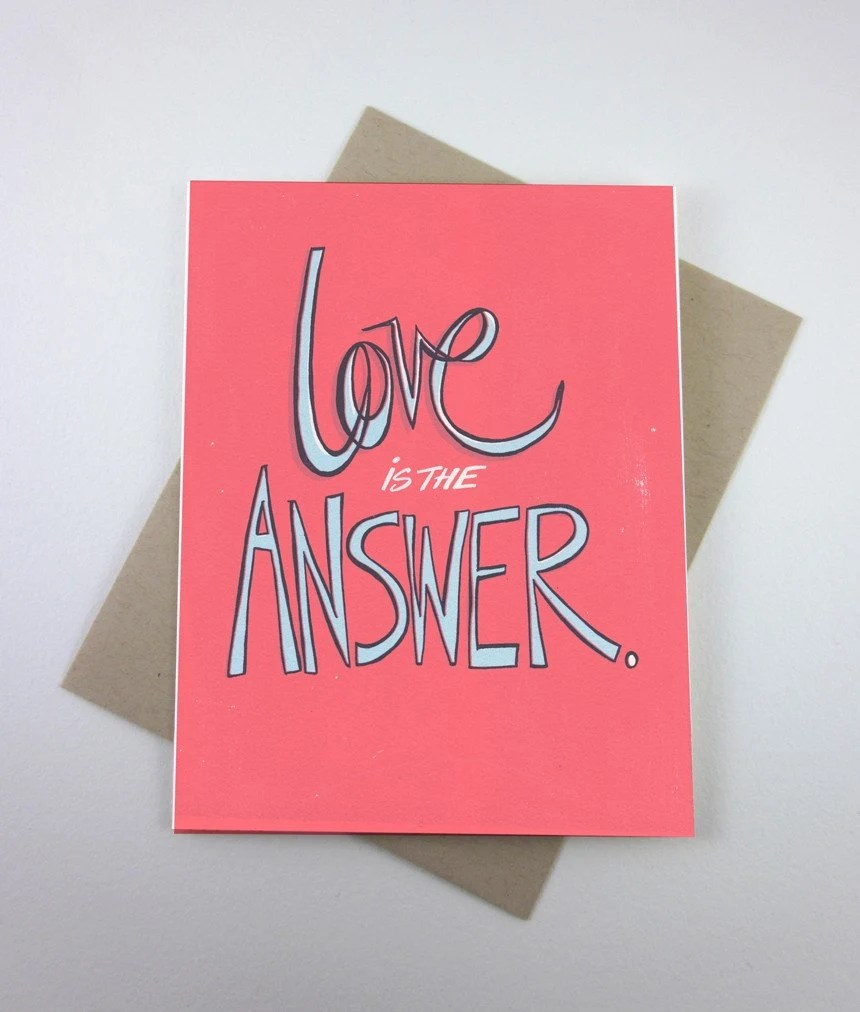 Love is the Answer Screenprint Card - fiskandfern