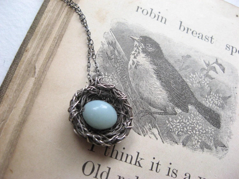 bird's nest necklace...robin's nest...silver, amazonite - PreciousMeshes