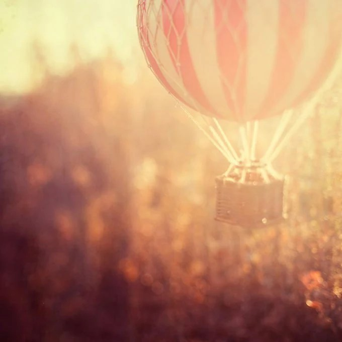 25% OFF Hot Air Balloon Photograph, Toy, Autumn Colors, Red, Rust, Fine Art Photography, Warm Sun - Anything is possible