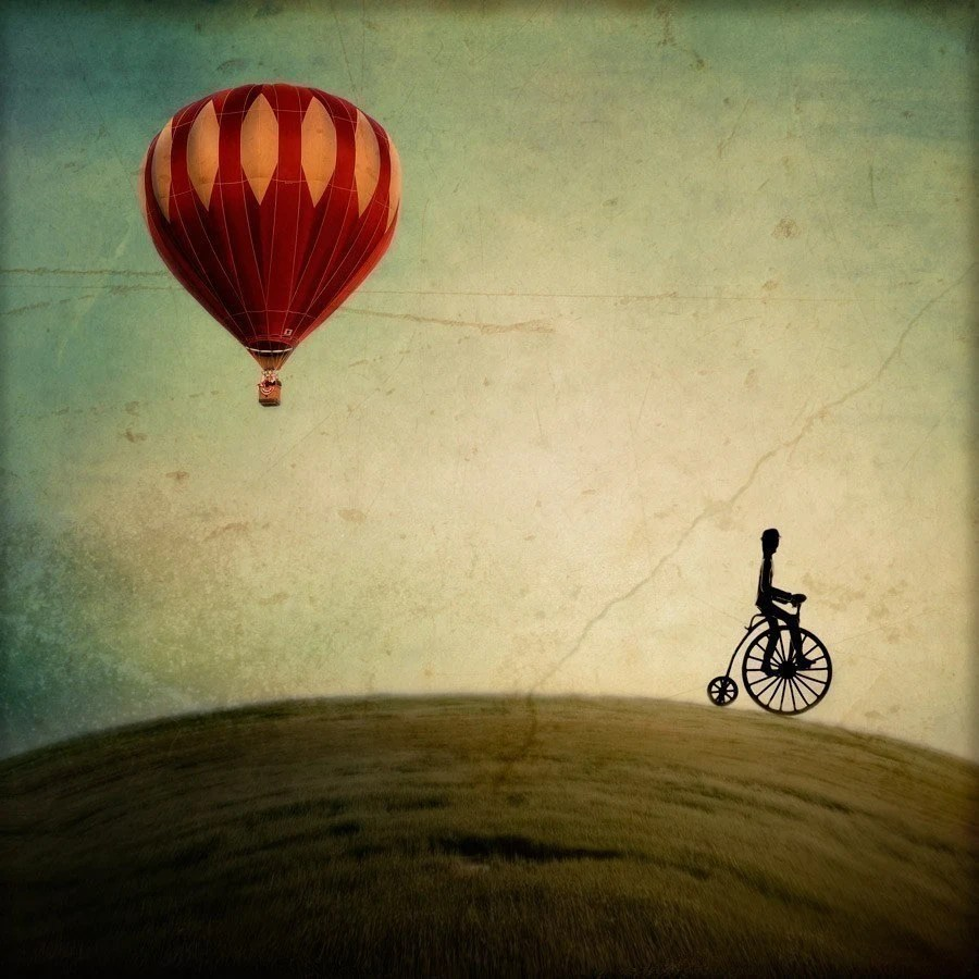 25% OFF Nursery Wall Art,  Nursery Decor, Red Hot Air Balloon, Bicycle, Surreal Photography - Penny Farthing for Your Thoughts