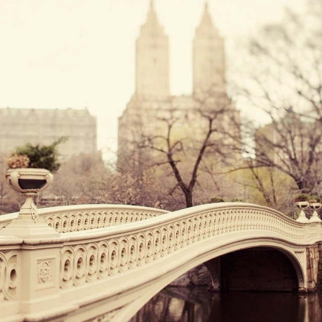 NYC Art, New York City Photography, Central Park Bow Bridge Photograph, Neutral Beige Wall Art Print - A Walk in the Park