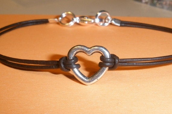 Leather Wrapped Girls Childrens Heart Bracelet - Free Shipping within the  US