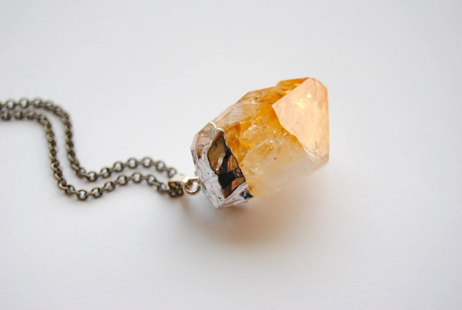 Raw Citrine Crystal Necklace - Summer Jewelry - Graduation Gift - Free Shipping in the US - SPARKLEFARM