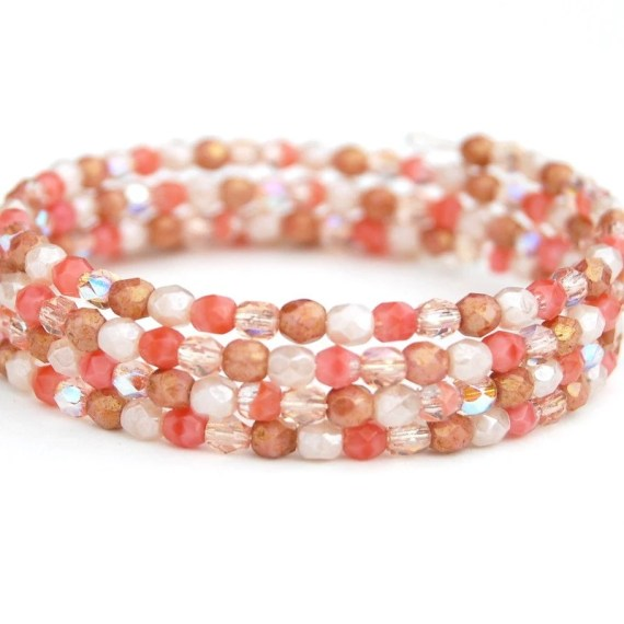 CIJ SALE, Peaches and Cream Beaded Memory Wire Bracelet, Beaded Cuff - AMIdesigns
