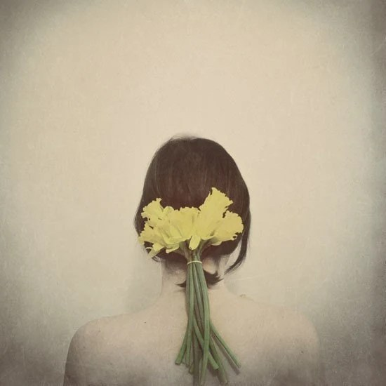 Flower Portrait, Flowers In Her Hair,  5x5 Print, Dreamy, Grey, Yellow, Conceptual, Feminine Fine Art Photography - ellemoss