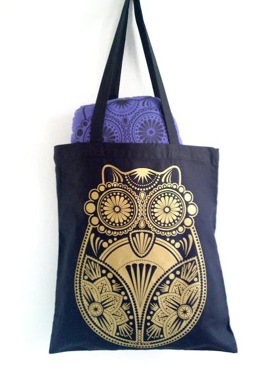 Gold Sugar Owl Screen Printed Black Tote Bag - liwbanks