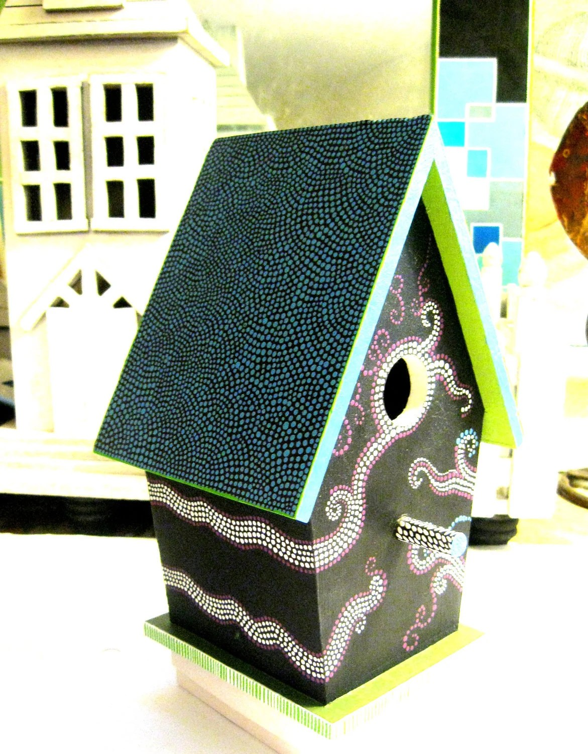 CLEARANCE Dot Dot Dotted BirdHouse By Pearle - PearlesPainting