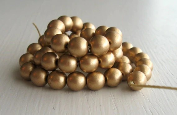 50 Matte Gold 6mm Rounds - Czech Glass Beads - fivesisters