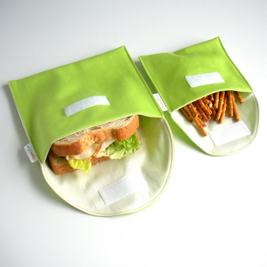 Reusable Eco Sandwich and Snack Bag Set of 2 - Organic Cotton - Lime --- Back to School - OrganiLuxe