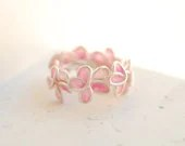 Pink Forget Me Not Ring, Anniversary Weddings Sterling Silver Flowers, Paper Artisan Wearable Art Jewelry... - TaylorsEclectic