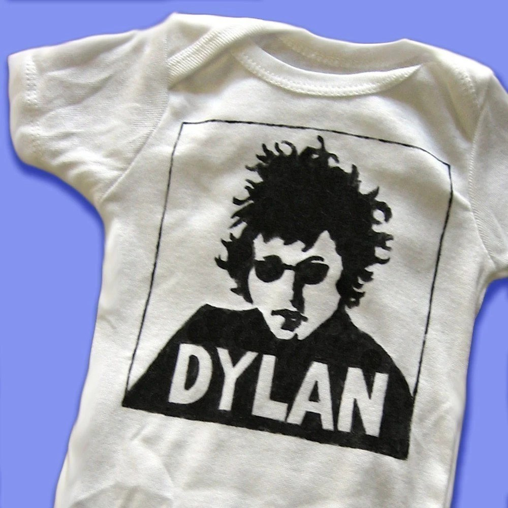 Hand Painted Bob Dylan Baby Bodysuit or Kid's T-Shirt (pick your size) DYLAN - musician - folk music