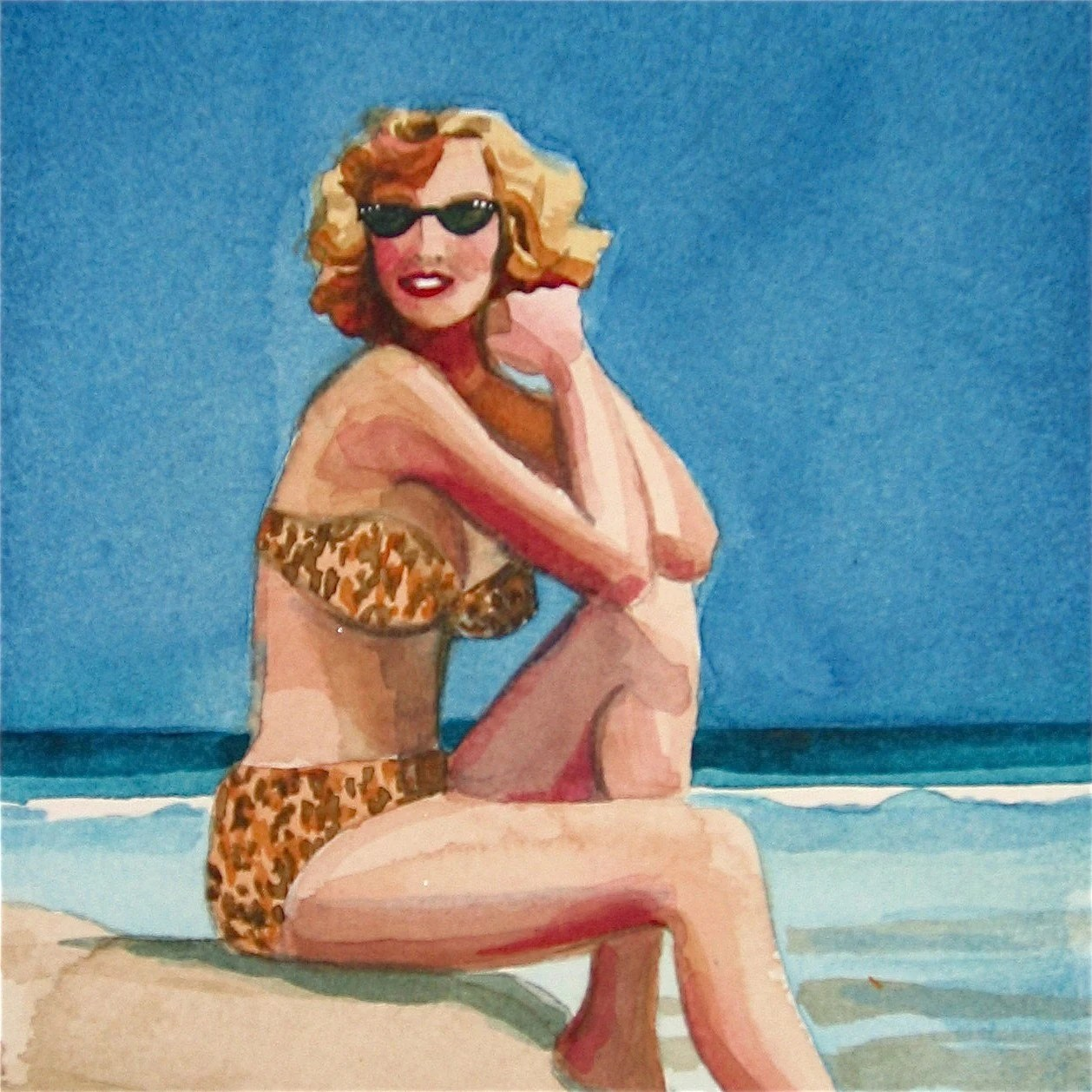 Bathing Beauty Jane - watercolor portrait by Gretchen Kelly - gretchenkellystudio